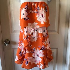 The Room Orange Floral Strapless Dress Sz M